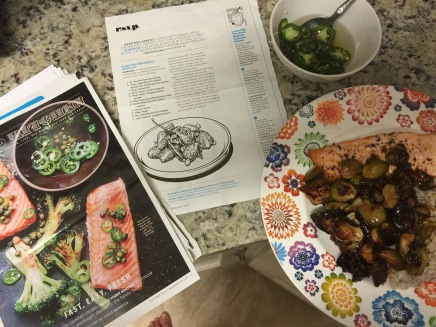 Recipe: Kung Pao Brussels Sprouts and Roasted Salmon With Chile-Caper Vinaigrette