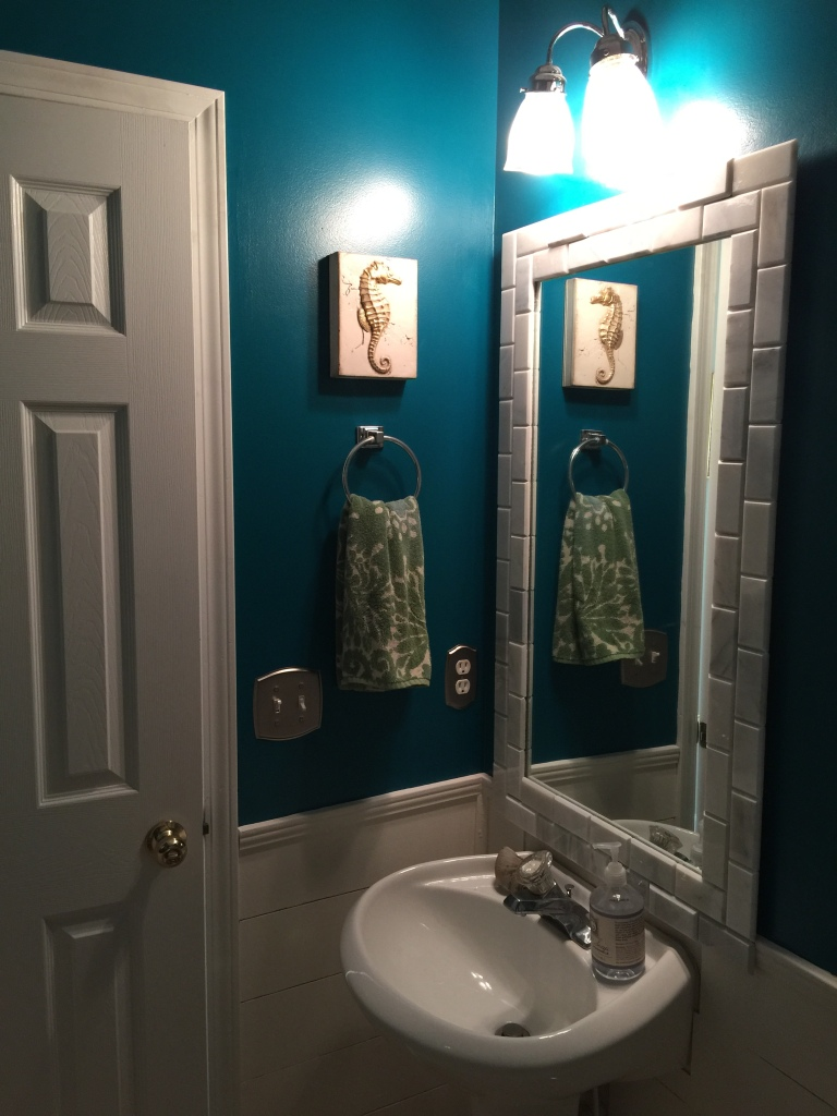 bathroom renovation, horizontal planks