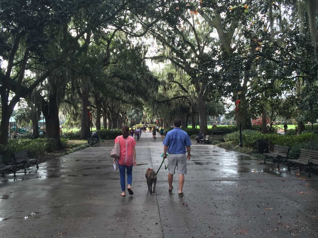 Walking through Forsyth Park, Savannah, Georgia